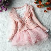 Sváteční set - šaty + kabátek - růžový, 98
