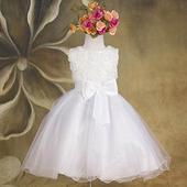 Slavnostní šaty - pro družičku - bílé, 128