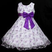 Slavnostní družičkové šaty - bílo fialkové, 116