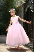 Princeznovské šaty, podlahová délka, světle růžové, 140