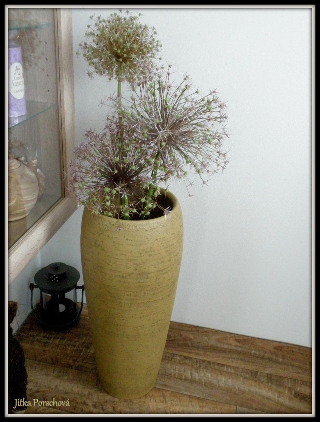 Trocha dekorace doma. - Nová váza a mé česneky.