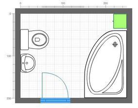 návrh koupelny:rohová vana 160x100cm,WC,umyvadlo,skříňka