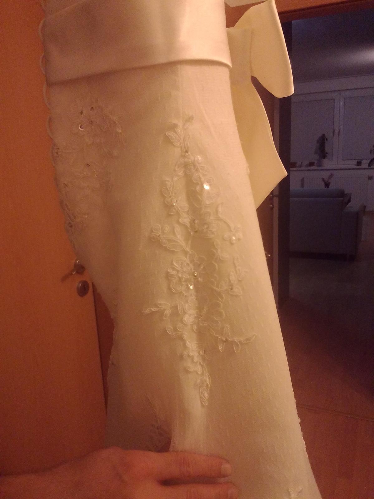 svadobne saty, kruhova spodnica + zavoj, ivory-sur - Obrázok č. 3