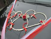 3 SRDCE - Pedig.dekorace na auto ženicha a nevěsty,