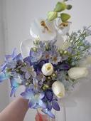 svatební kytice korsáž modrá bílá ,