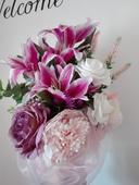 svatební kytice korsáž růžová fuchsiová bílá ivory,