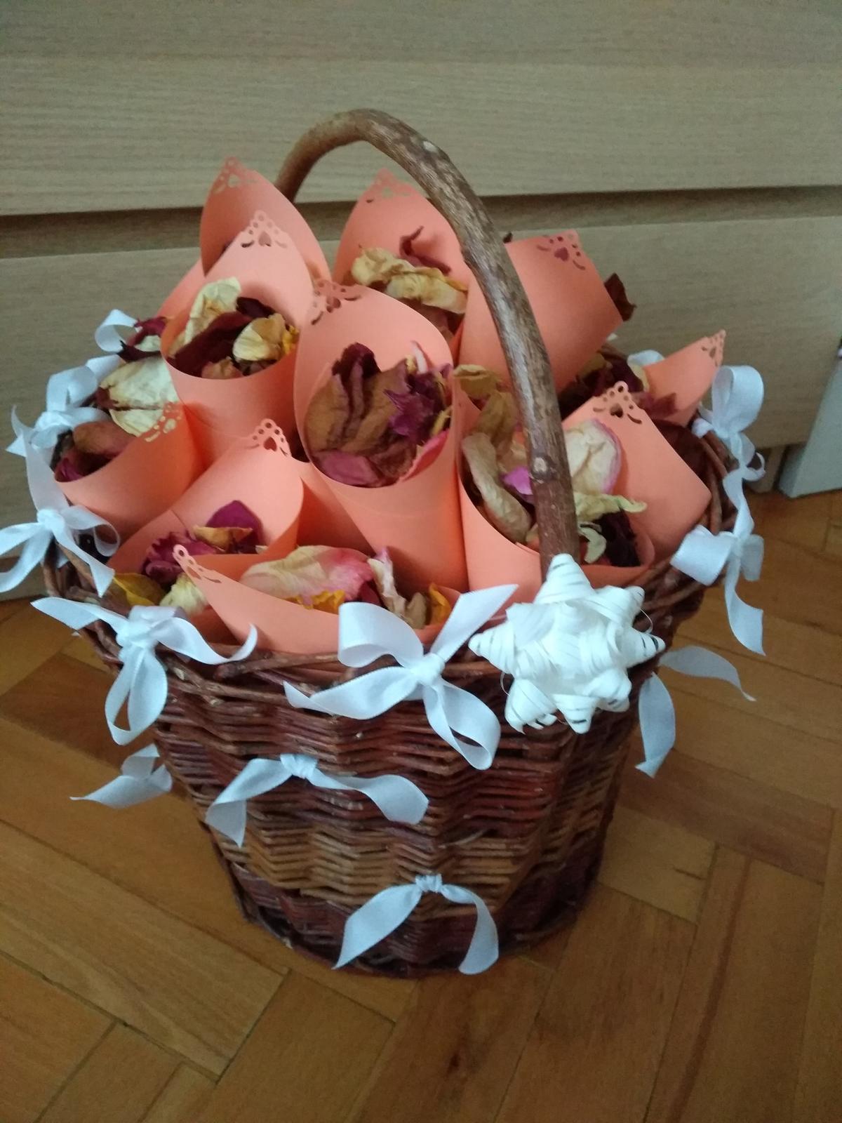 Co už máme - Košík s okvětními lístkami růži