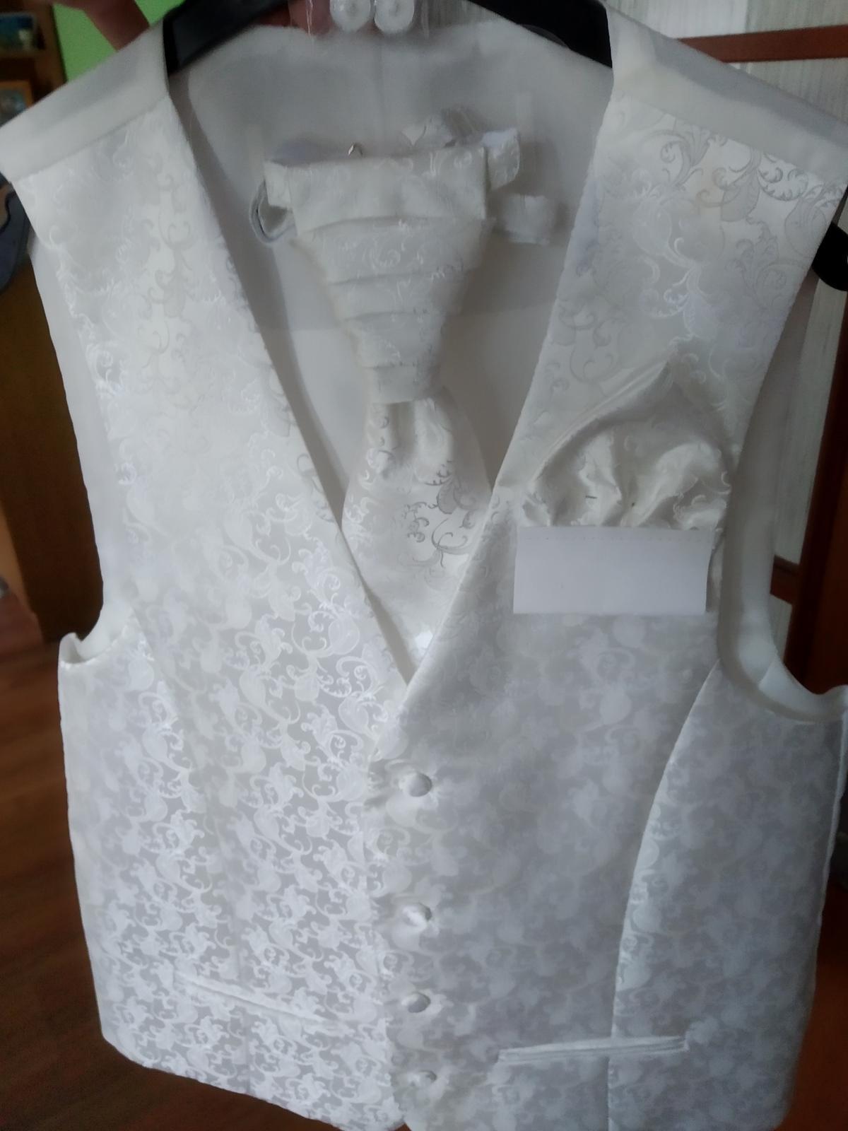 Vesta, francúzska kravata a vreckovka - Obrázok č. 3