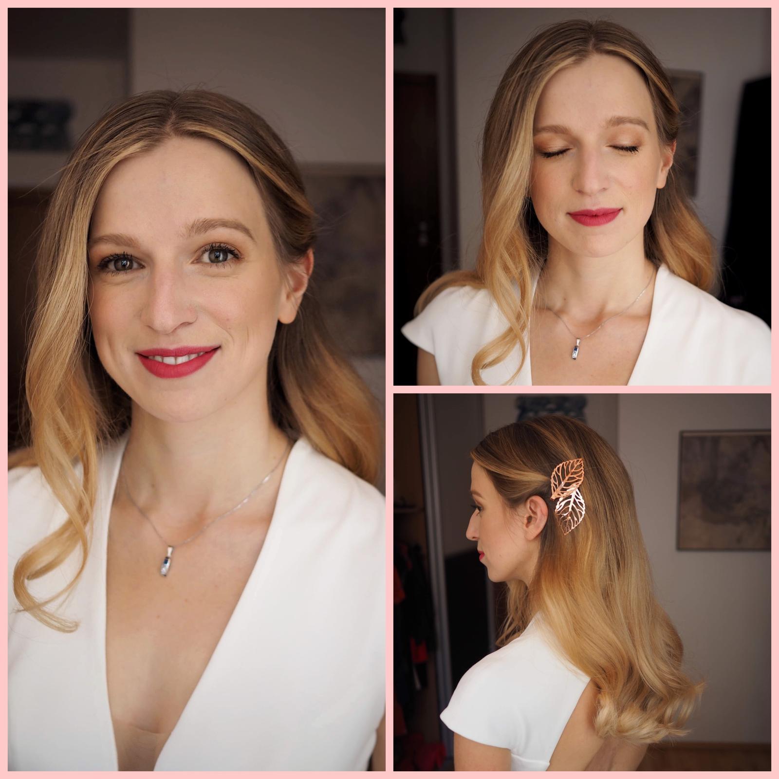 Nevěsty 2019 - Minimalistická kráska v Den D❤️,vytáhly jsme jen krásné rysy a dovolily si výraznější rtěnku💋. Vlasky měly být co nejjednodušší, jen jsme tedy podvlnily a působily lístky🌸