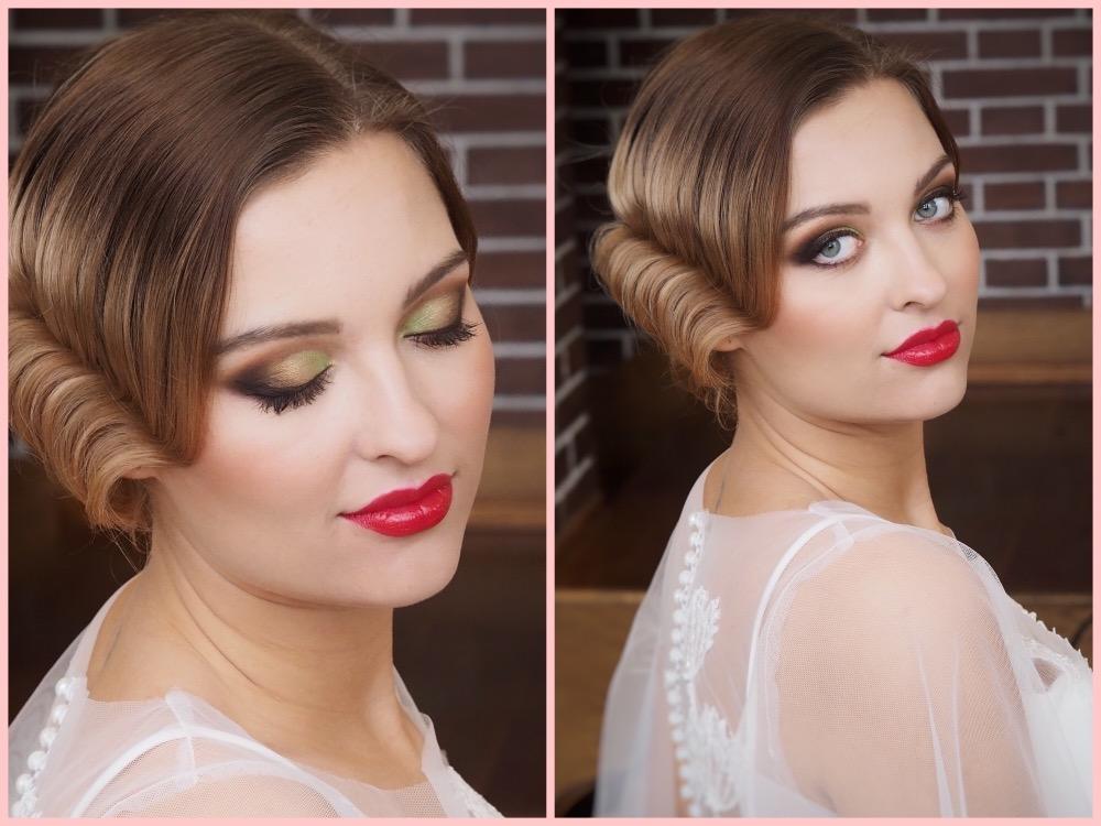 Makeup & hair 2020 - Výrazné hnědo-zelené kouřovky s červenými rtíky ve stylu ART DECO