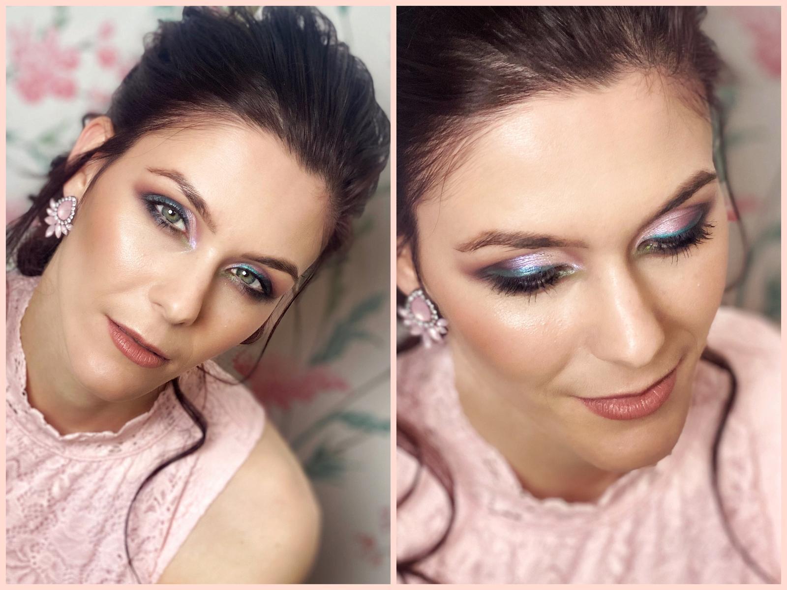 Makeup & hair 2020 - Krásná Kačka - růžovo hnědé stínované oko de zelenou linkou,tělová rtenka a výrazný konturing🌸,na ples ideal🌸