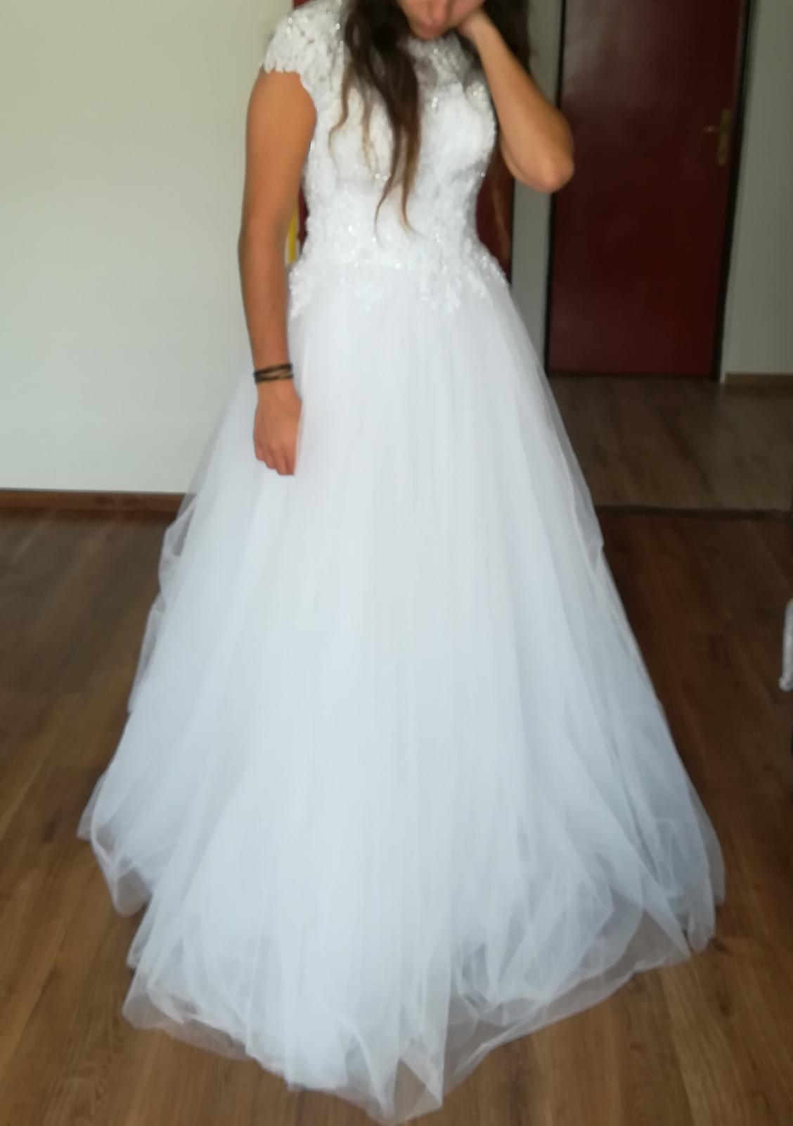 Biele svadobné šaty 38 - Obrázok č. 1