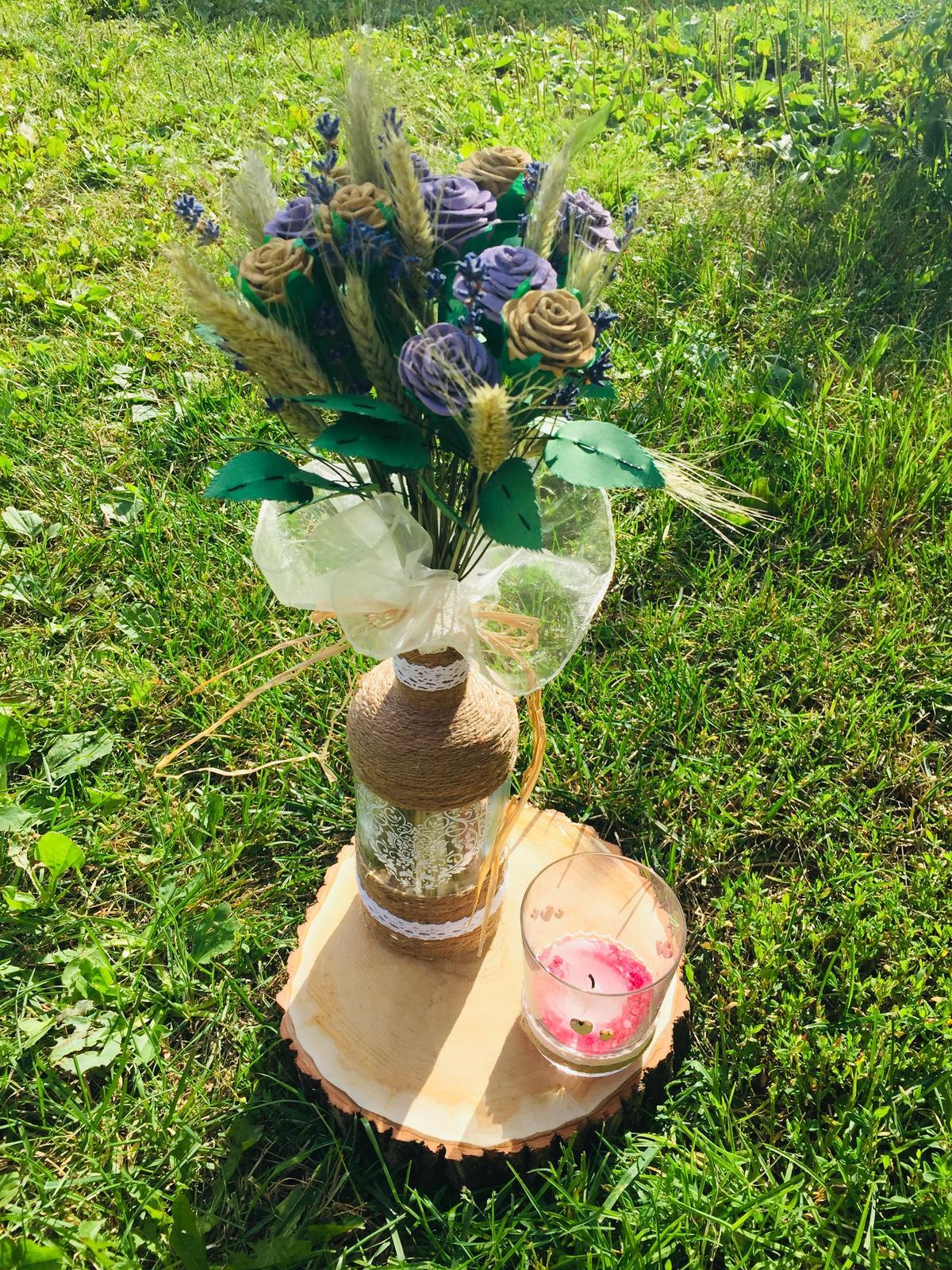 lahev s růžemi a obilím - Obrázek č. 1
