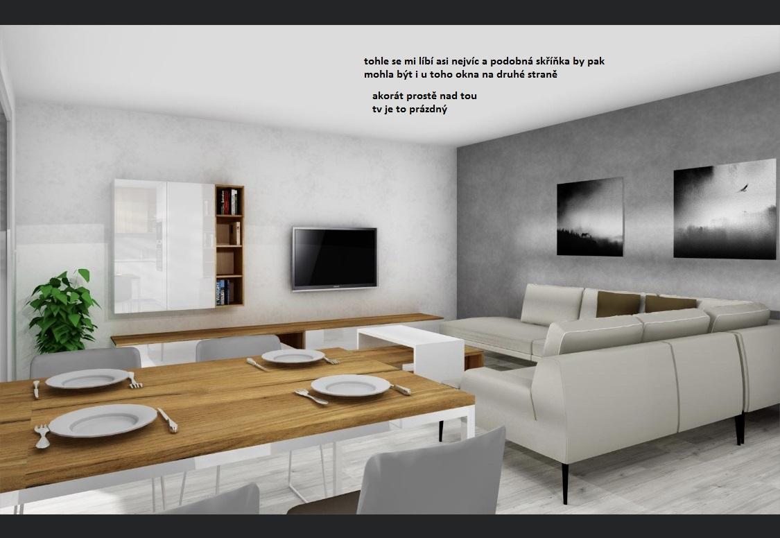 """Prosím o radu, konečně budeme řešit obývák a provizorní nábytek přemístíme do horního pokoje. Určitě chci bílý lesk a kombinace buk nebo dub, ptž takový máme konfereční stolek a jídelní stůl. Vůbec ale nevím jak to pojmout, a jak vyřešit to """"prázdné místo"""" nad tv. Nemáte někdo tip nebo inspiraci?Zatím jsem si našla pár fotek pro inspiraci, ale nic z čeho bych byla extra nadšená - Obrázek č. 3"""