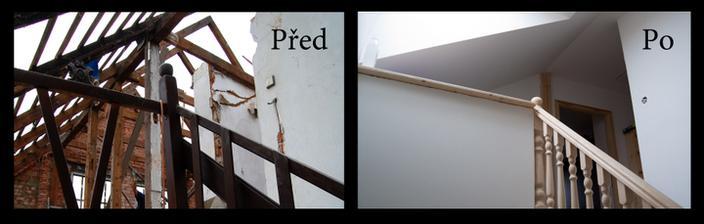 Schodiště zespodu. Přizdívali jsme pozednici, protože byla hrozně nízká a sklon střechy tak akorát na ubouchání si hlavy:-D Proto je na fotce ten sklon trochu jinej.
