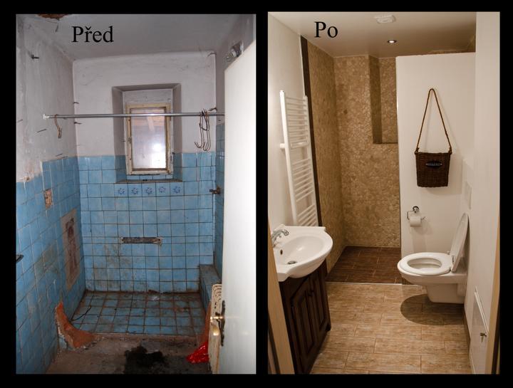 PŘED A PO - Tak konečně poslední místnost hotová - spodní koupelna (za příčkou je sprcháč)