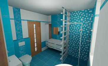 Vizualizace naší koupelny - té mozaiky nebude ve sprše nakonec tolik