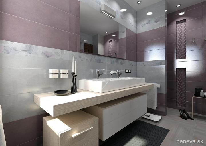 3D návrhy kúpeľní - Obklady Violet & Grey 25x75 cm