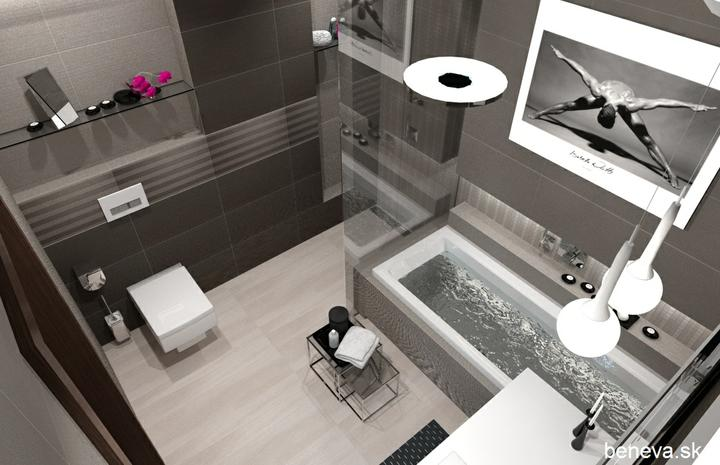 3D návrhy kúpeľní - Obklady Wenge & Nut 30,5x56 cm