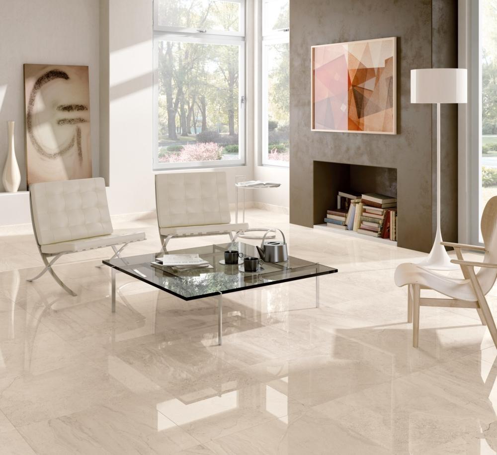Dlažba jednej kolekcie na viac spôsobov - v elegantnej obývacej izbe