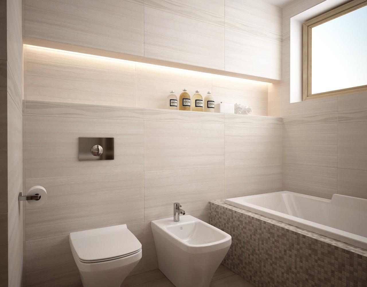 Vizualizácie kúpeľní v rodinnom dome. - Matný obklad MADEIRA 40x80 cm. Obklady a dlažba sú v rektifikovanom prevedení - môžu sa ukladať s minimálnou škárou.
