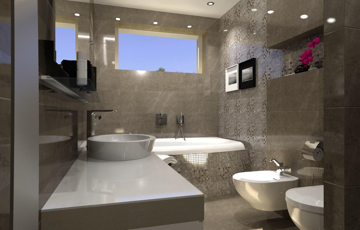 Vizualizácie kúpeľní v rodinnom dome. - Vizualizácia kúpeľne GRAFITE 32,5x97,7