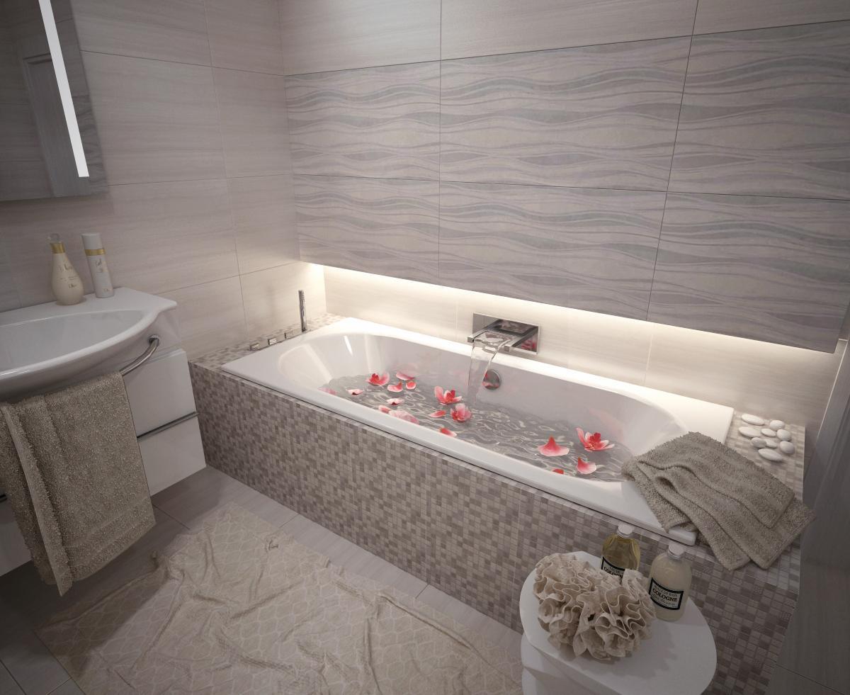Sivé farby dlažby a obkladov - Vizualizácia kúpeľne MADEIRA 40x80  - www.modernekupelne.sk/navrhy-kupelni/
