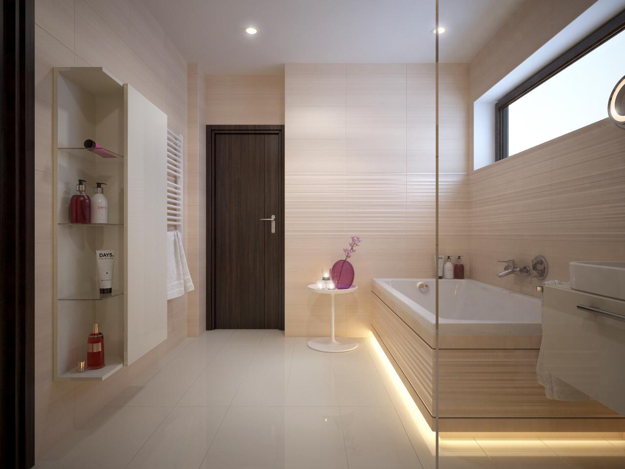 Pohľad do vašej budúcej kúpeľne - Vizualizácia kúpeľne BENEVA  - biely lesklý obklad + keramická dlažba v dizajne dreva