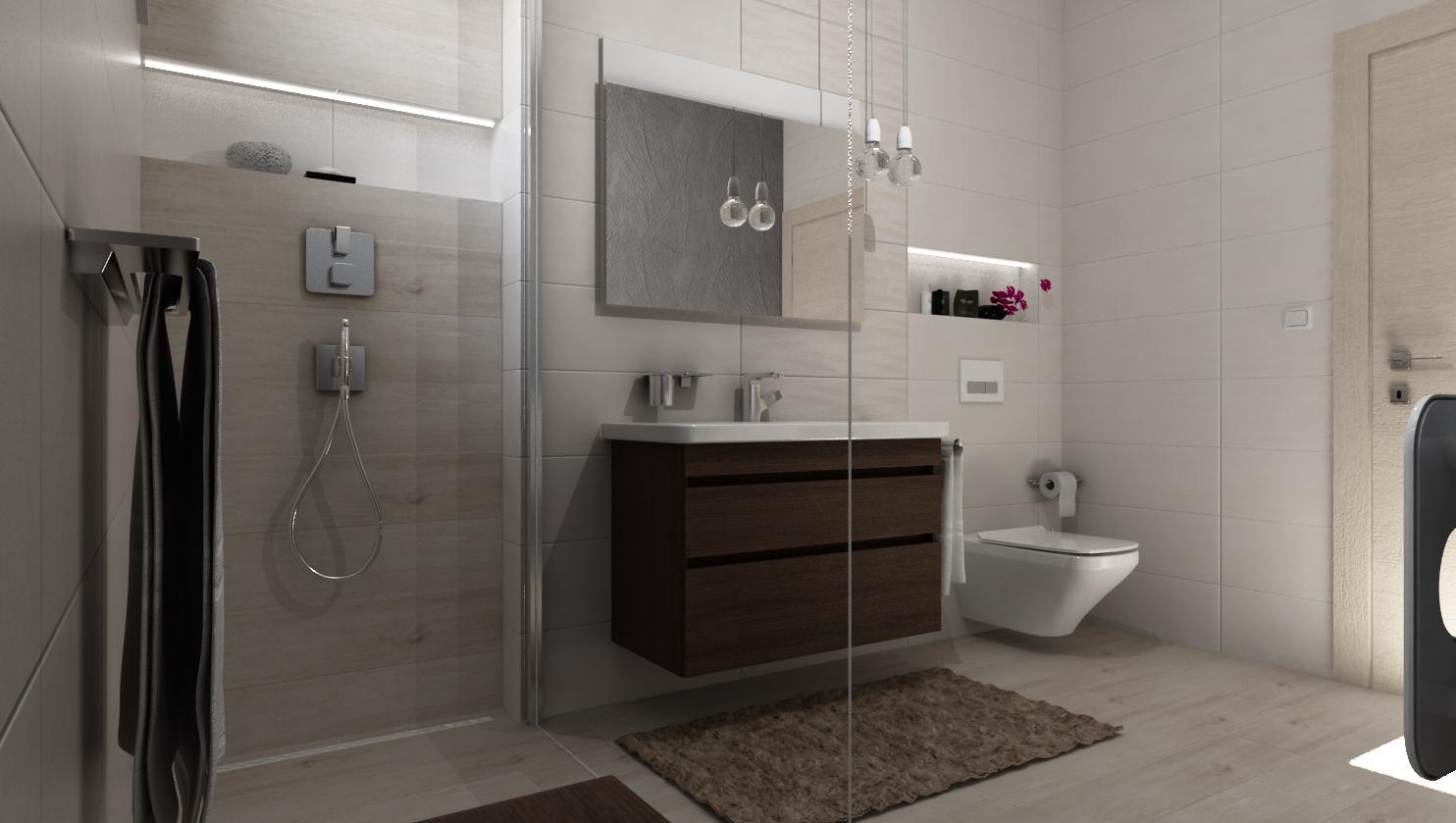 Vizualizácie kúpeľne - Vizualizácia kúpeľne DRESS IVORY / WAVE 25x75