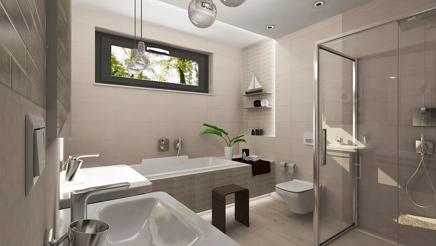 Vizualizácie kúpeľne - Vizualizácia kúpeľne LC.IVORY / TAN 25x75