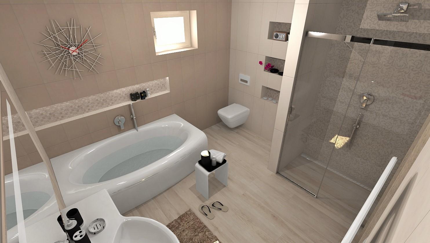 Vizualizácie kúpeľne - Vizualizácia kúpeľne IVORY RAMAGE / TOFFEE 25x75