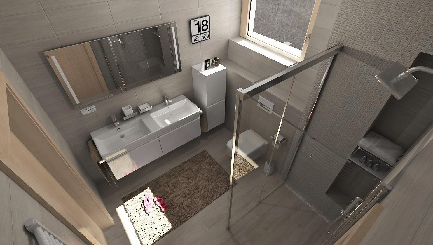 3D návrhy kúpeľní - vizualizácie - Vizualizácia kúpeľne - obklad GRIGIO 20x50 - 29,90 €/m2