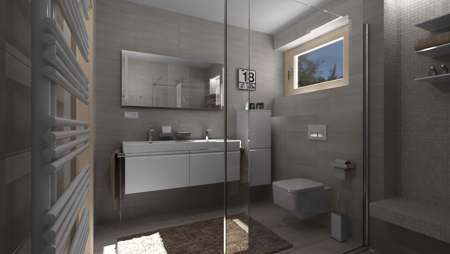 Vizualizácie kúpeľne - Vizualizácia kúpeľne BENEVA - obklad GRIGIO 20x50 - 29,90 /m2