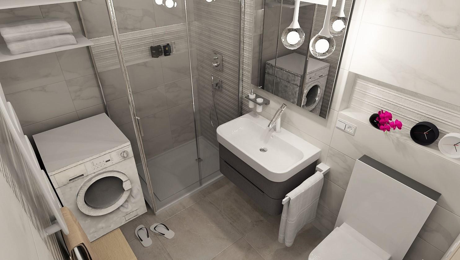 3D návrhy kúpeľní - vizualizácie - Malá kúpeľňa & veľký obklad - vizualizácia kúpeľne v 2 izbovom byte  - www.modernekupelne.sk