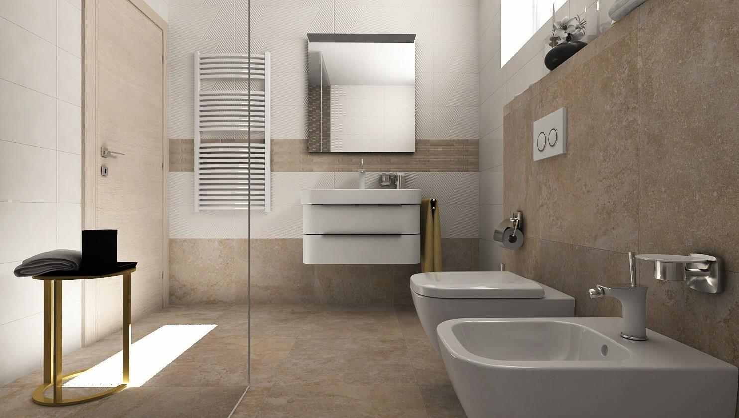 Vizualizácie kúpeľne - 3D návrh kúpeľne - dizajn kameňa 60x60 s bielym štruktúrovaným obkladom 25x75