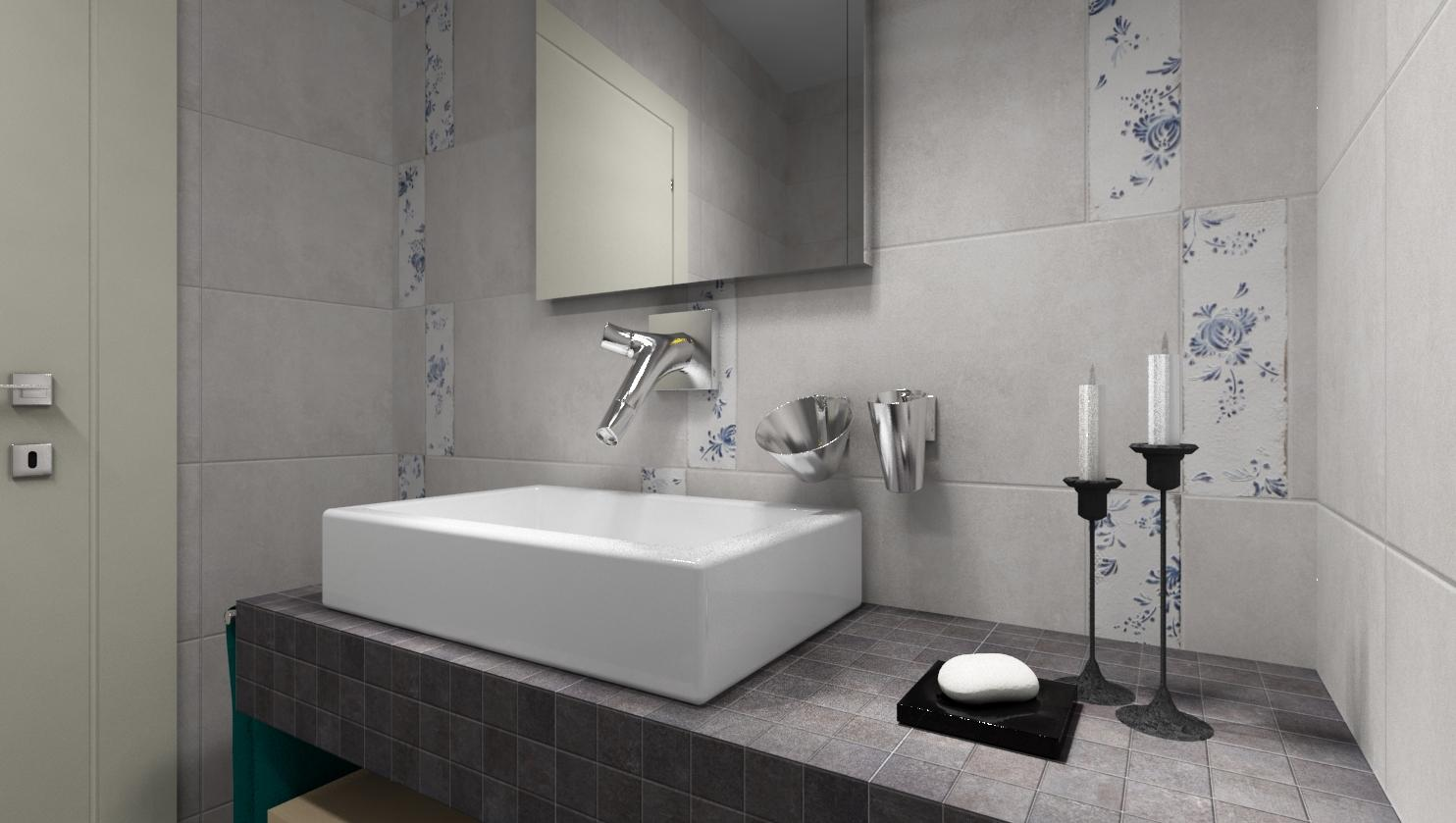 3D návrhy kúpeľní - vizualizácie - Vizualizácia kúpeľne v odtieňoch sivej s jemným modrým kvetinovým dekorom.