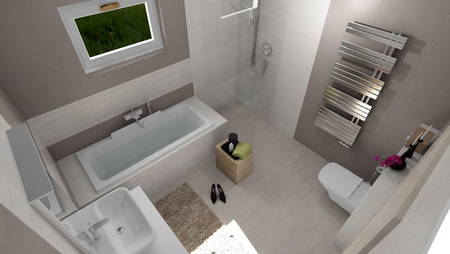 3D návrhy kúpeľní - vizualizácie - Vizualizácia kúpeľne 2,8 x 2,9 m - Obklad béžová /sivohnedá 20x50 cm  - www.beneva.sk