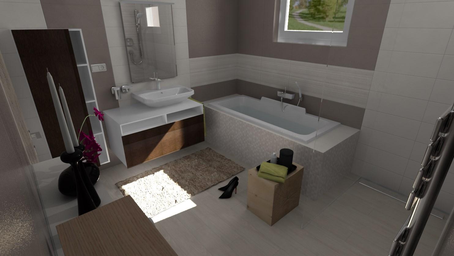 3D návrhy kúpeľní - vizualizácie - Vizualizácia kúpeľne 2,8 x 2,9 m - oObklad béžová /sivohnedá 20x50 cm