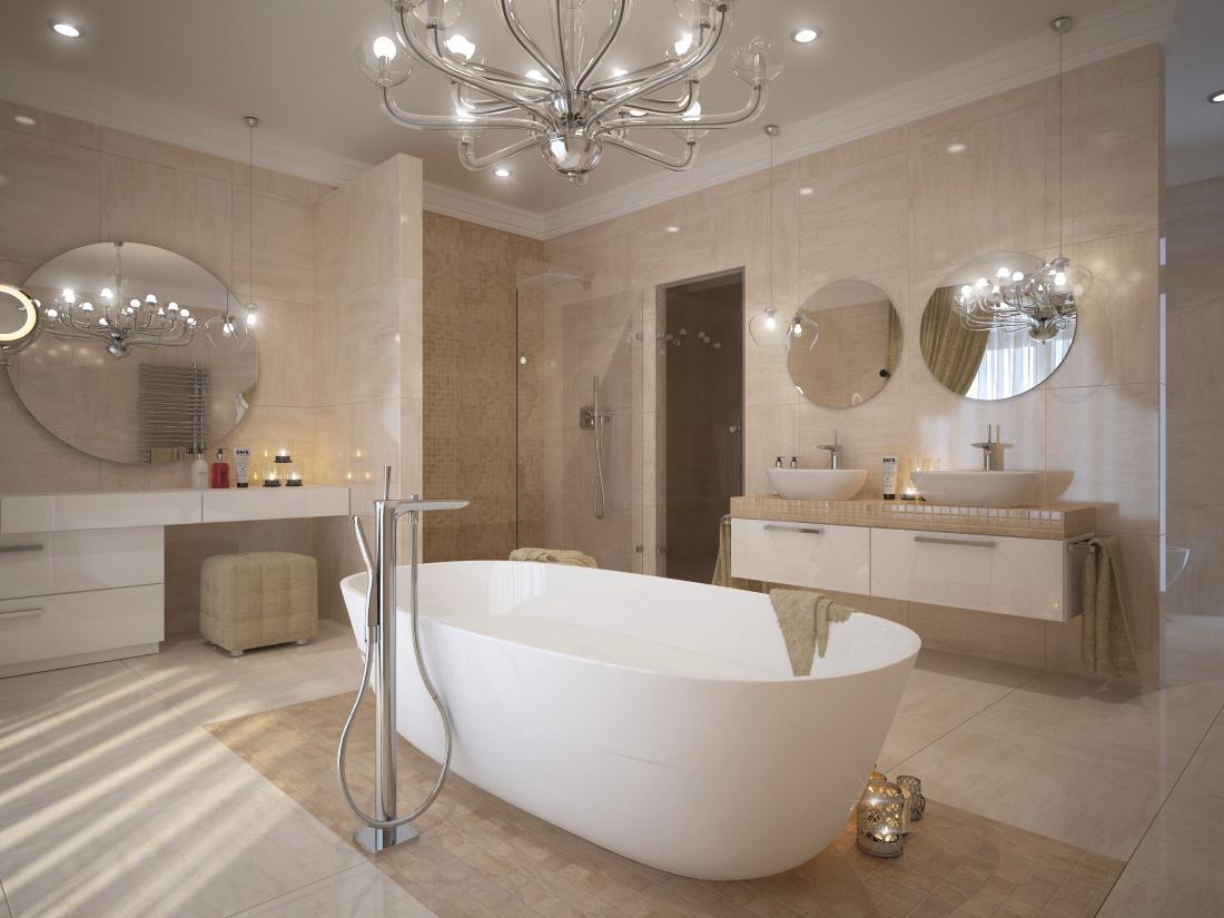 Návrhy a vizualizácie kúpeľní - Vizualizácia kúpeľne s voľne stojacou vaňou v priestore. Obklad a dlažba je vo vysokom lesku, má jednotný rozmer 60x60 cm. V sprchovom kúte a okolo vane je navrhnutá mozaika v matnom prevedení.