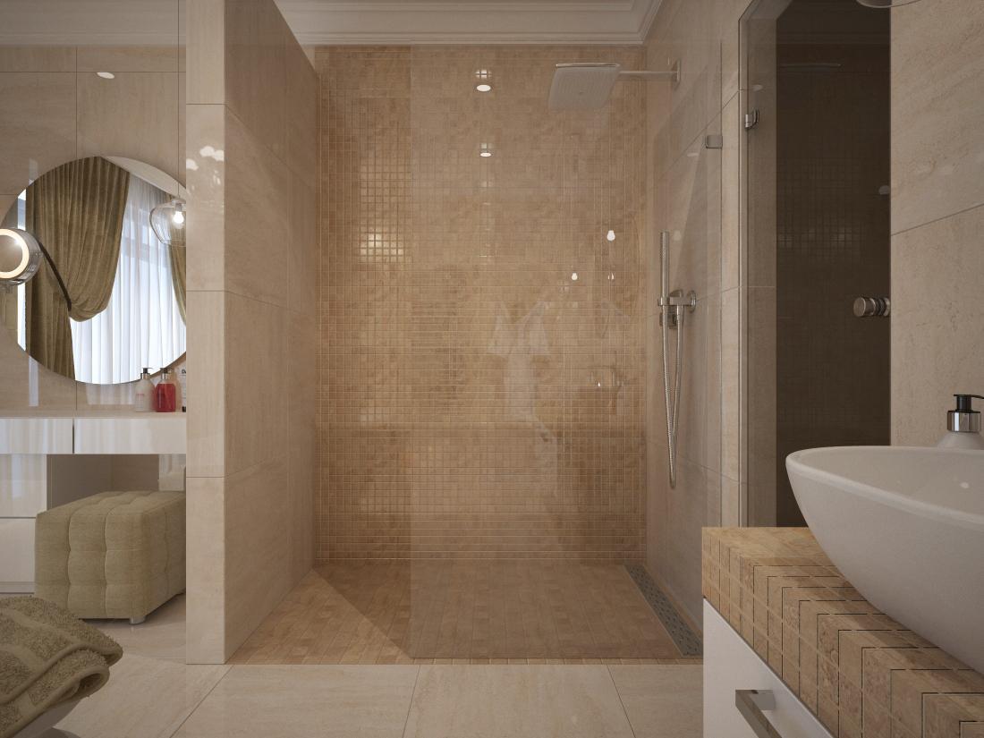 Návrhy a vizualizácie kúpeľní - Vizualizácia kúpeľne - v sprchovom kúte a okolo vane je navrhnutá mozaika v matnom prevedení.