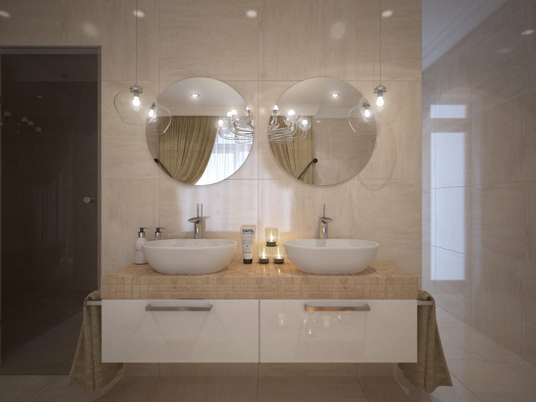 Návrhy a vizualizácie kúpeľní - Vizualizácia kúpeľne - obklad a dlažba je vo vysokom lesku, má jednotný rozmer 60x60 cm.