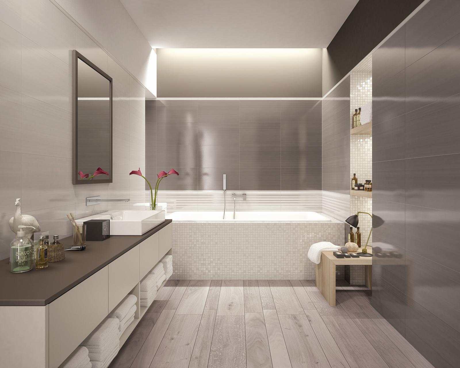 Kúpeľňové obklady v obľúbených béžových farbách - GREY