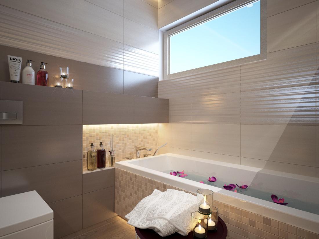 Kúpeľňové obklady v obľúbených béžových farbách - Vizualzácia kúpeľne GREY / NUT