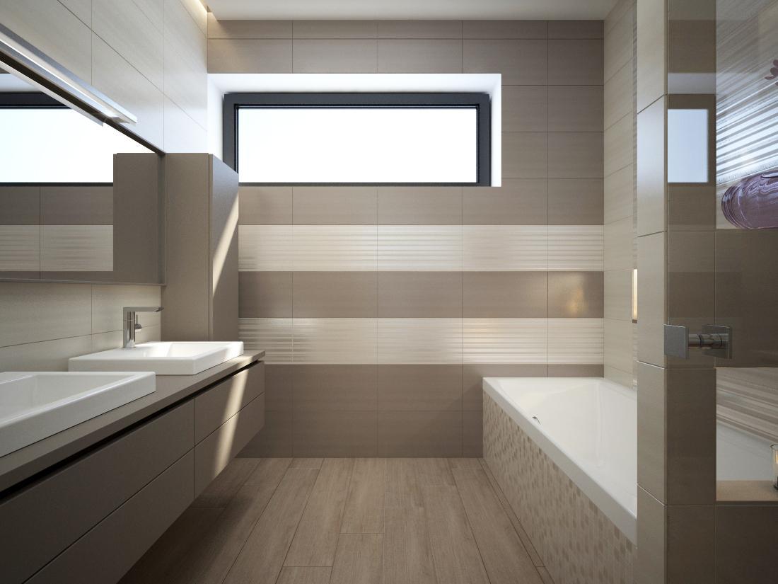 Kúpeľňové obklady v obľúbených béžových farbách - Vizualizácia kúpeľne v odtieňoch GREY & NUT