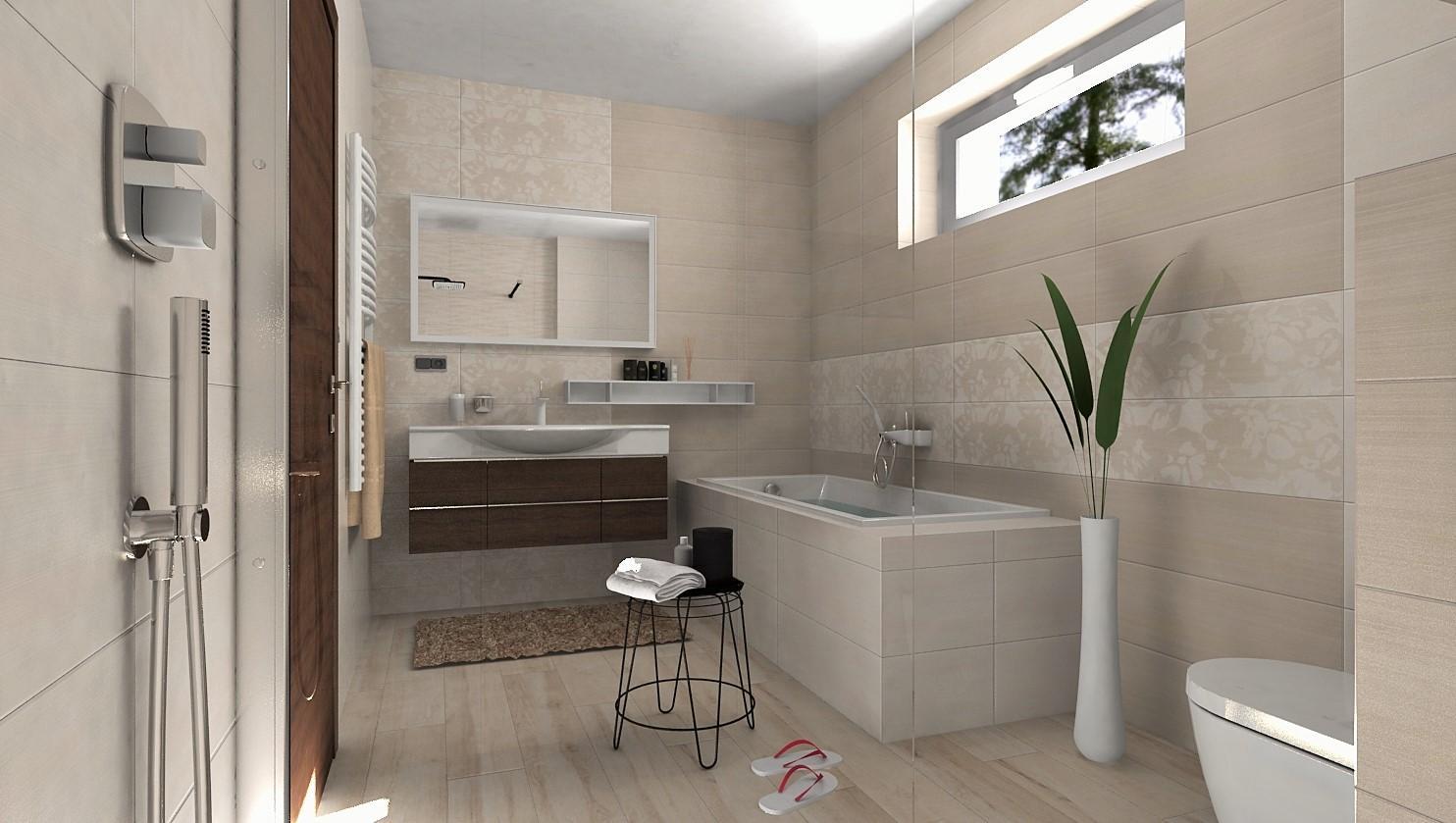 Návrhy a vizualizácie kúpeľní - Vizualizácia kúpeľne v jemnej béžovej - www.modernekupelne.sk/navrhy-kupelni