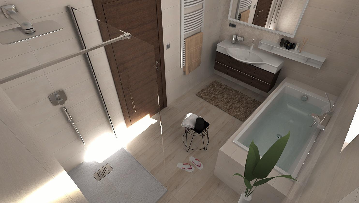 Návrhy a vizualizácie kúpeľní - Vizualizácia kúpeľne v jemnej béžovej