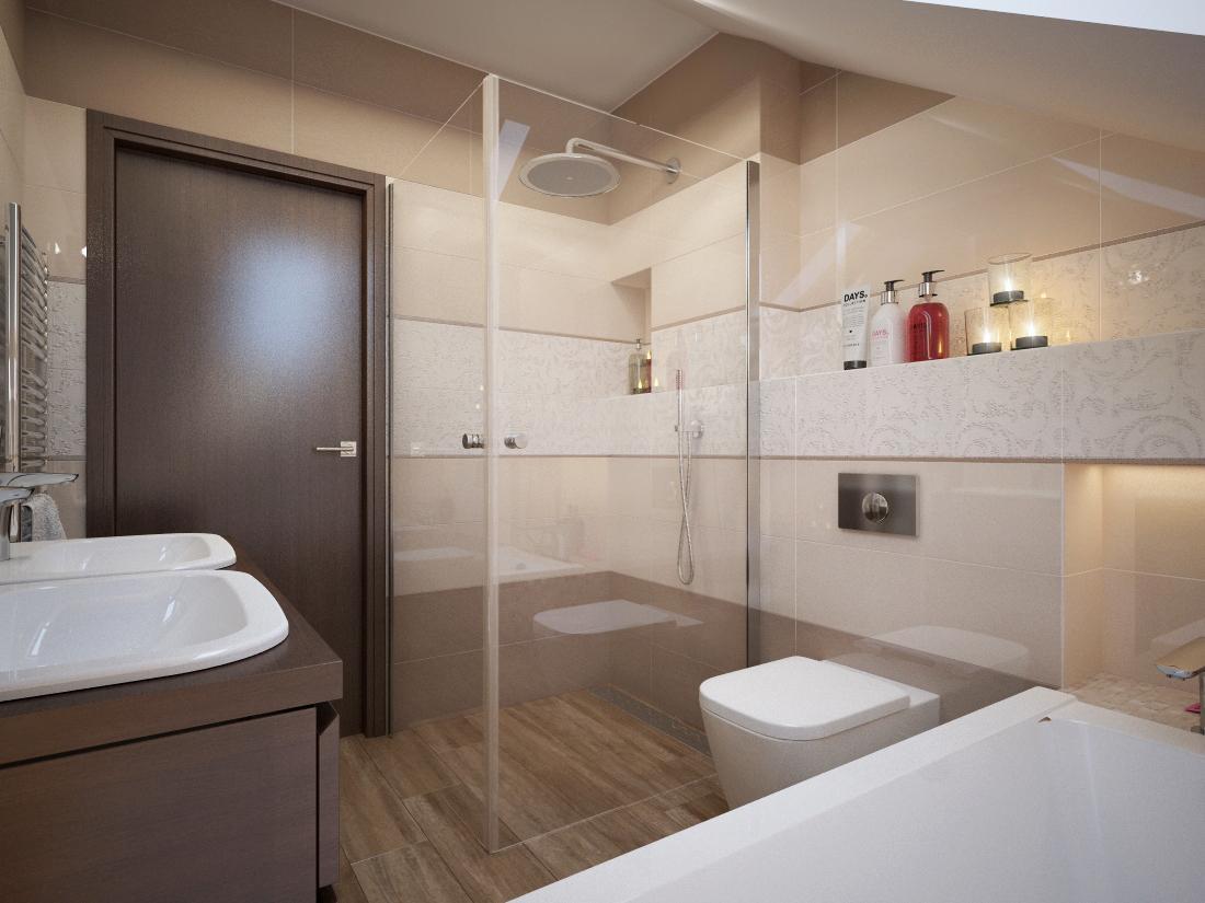 Návrhy a vizualizácie kúpeľní - Vizualizácia kúpeľne - obklad MEL.IVORY, TOFFEE 25x75, dlažba SOUTHGOLD 20x120