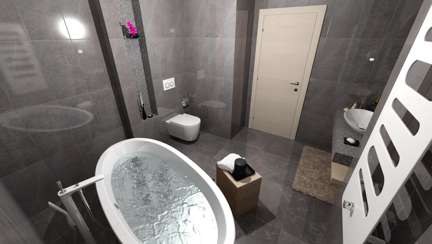 Návrhy a vizualizácie kúpeľní - Vizualizácia kúpeľne DELUXE DARK - www.beneva.sk