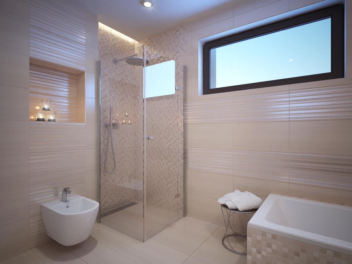 Kúpeľňové obklady v obľúbených béžových farbách - Obrázok č. 32