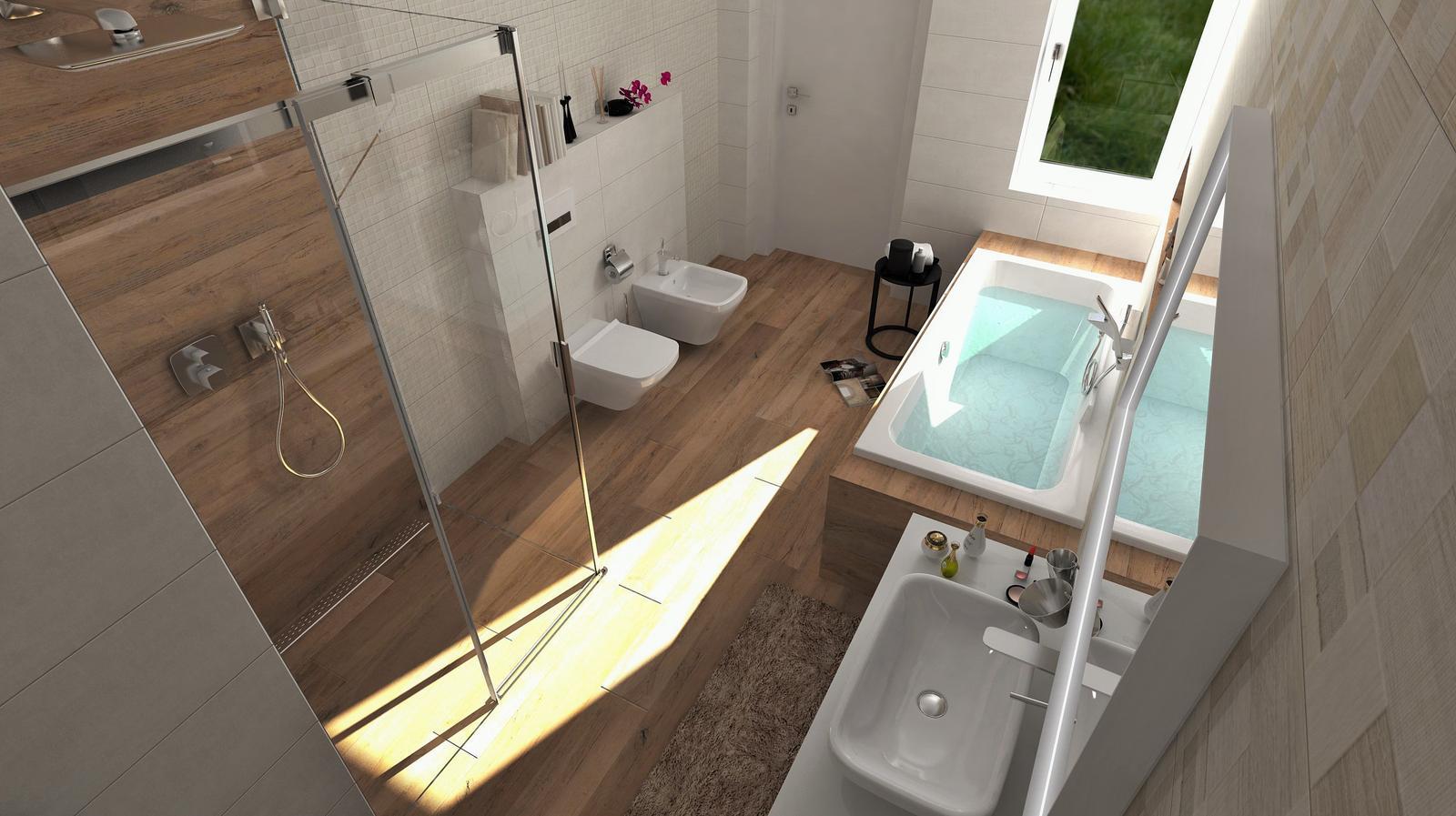 Vizualizácie kúpeľní - Vizualizácia kúpeľne - obklady v prírodných farbách - viac našich návrhov: www.modernekupelne.sk/navrhy-kupelni